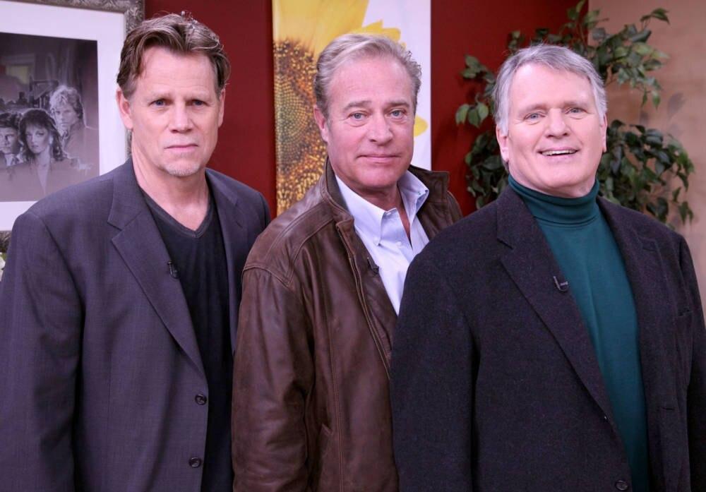 Schauspieler Al Corley (links) und Gordon Thomson (rechts) nebst John James (mitte)