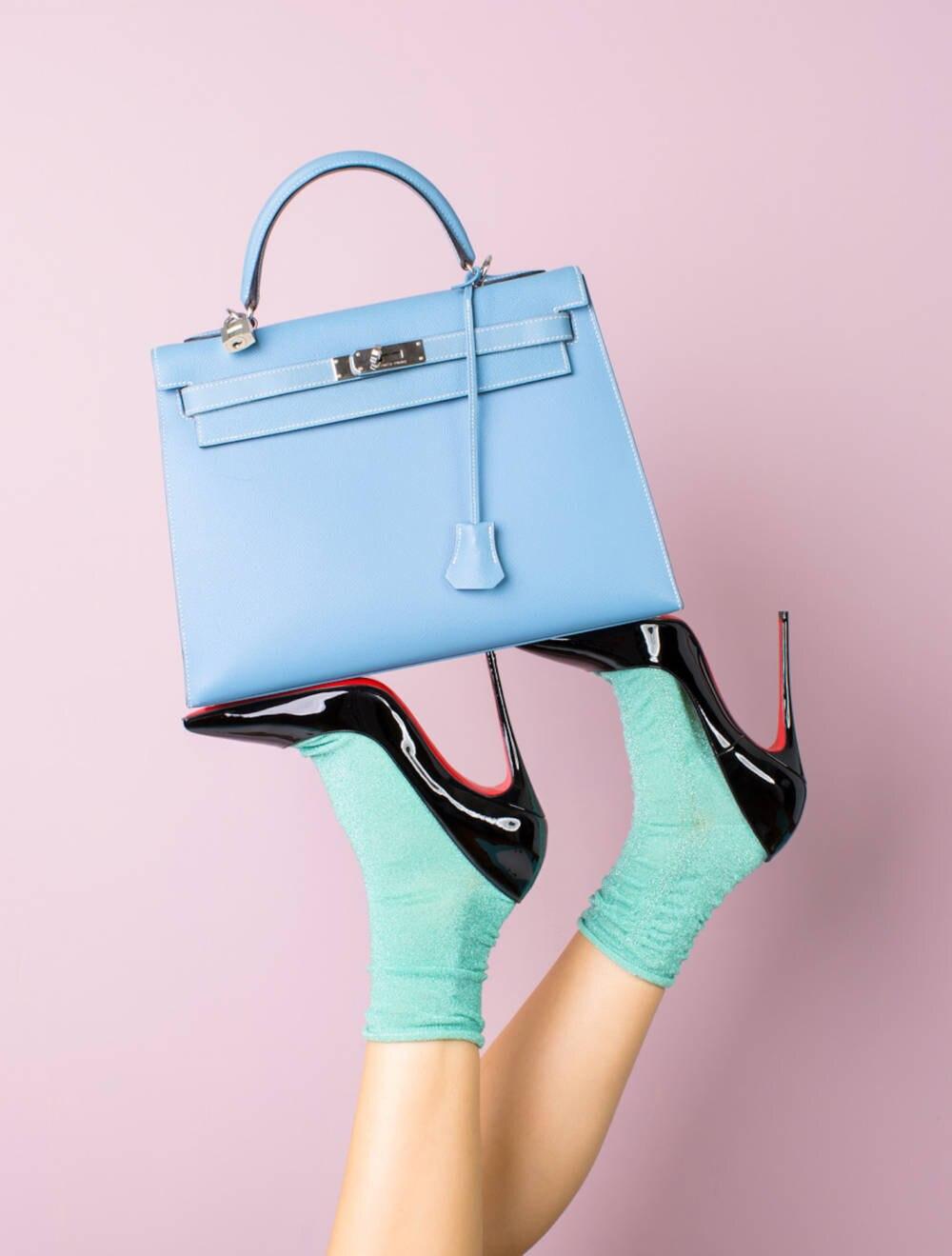 Kelly Bag von Hermès in Babyblau
