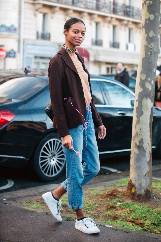 Model Aaliyah Hydes Street Style Boyfriend-Jeans