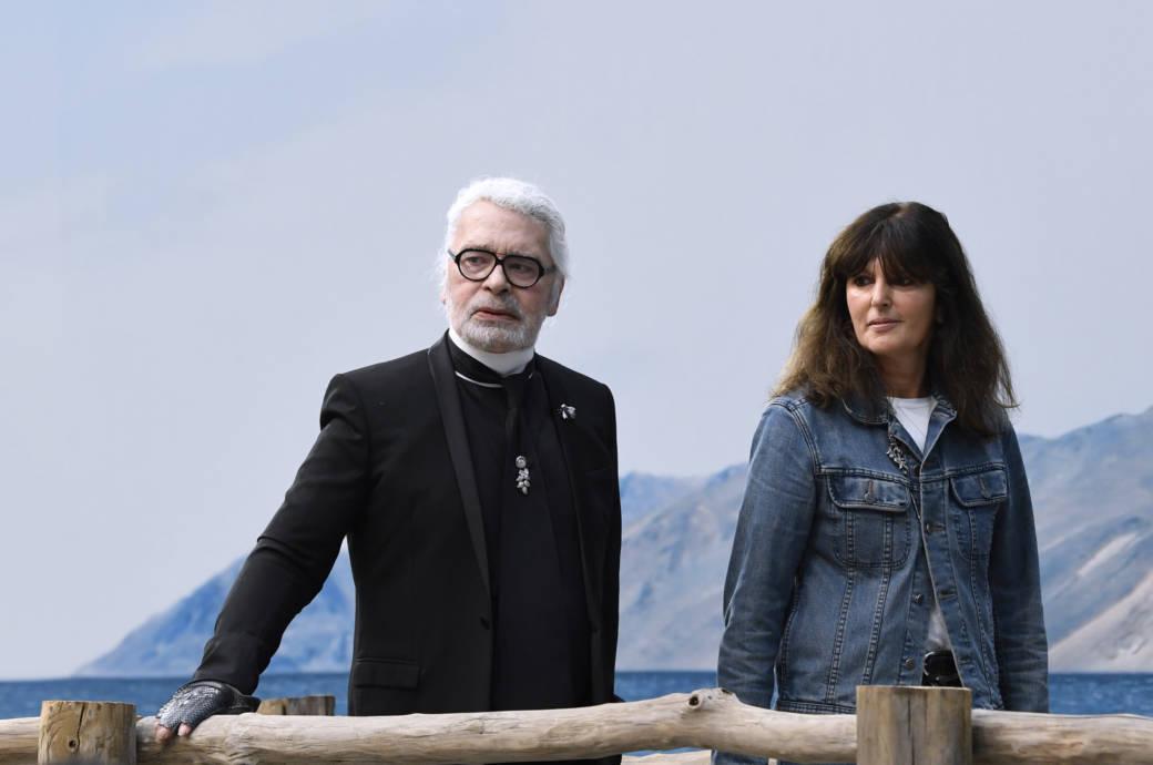 Virginie Viard und Karl Lagerfeld nach der Chanel Show im Januar 2019