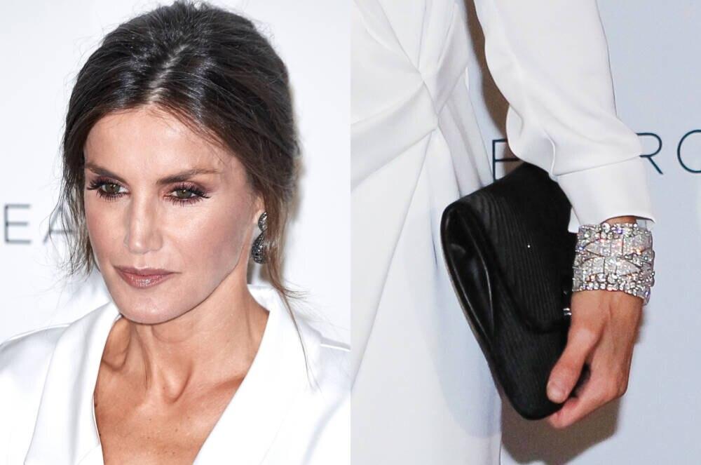 Königin Letizias Gesicht links und Close-up auf ihr Handgelenk mit Diamantarmbändern