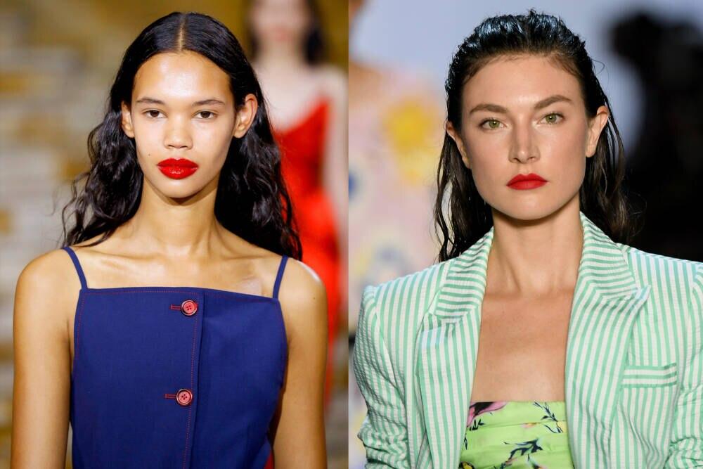 Models mit knallroten Lippen