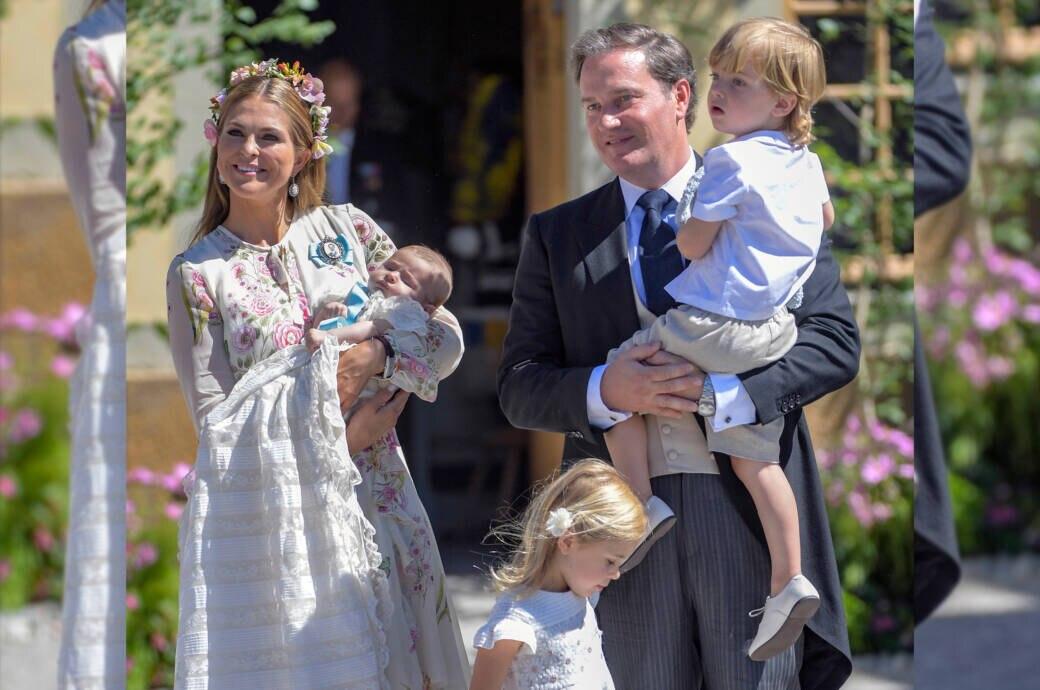 Prinzessin Madeleine mit ihrem Mann und den drei Kindern