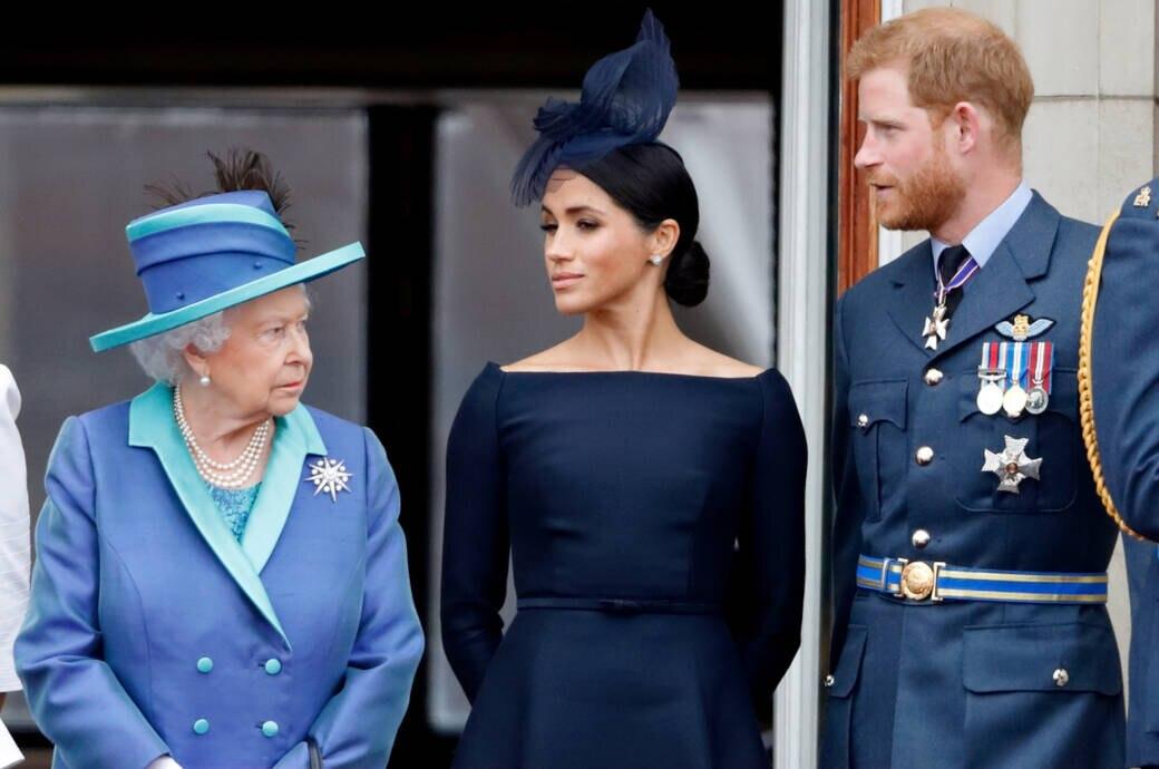 Queen Elizabeth mit Harry und Meghan