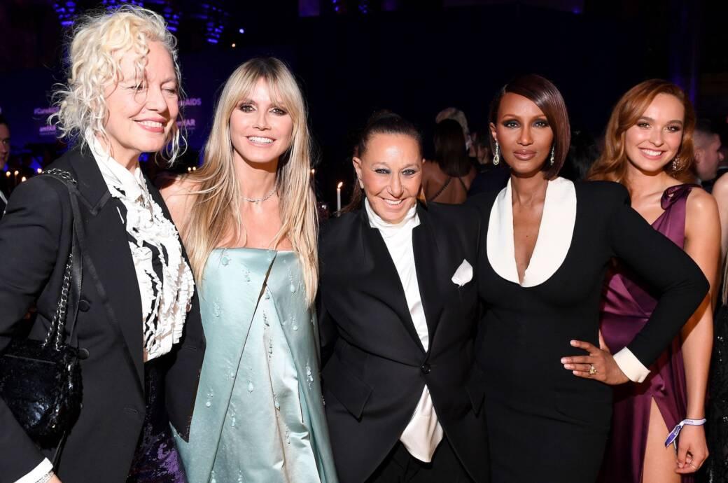 Ellen Von Unwerth, Heidi Klum, Donna Karan and Iman attend the 2020 amfAR New York Gala