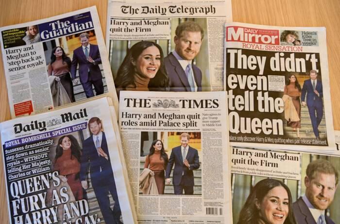 Zeitungen mit Harry-und-Meghan-Schlagzeilen
